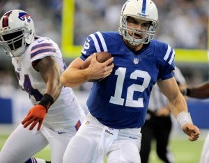 Luck runs for yardage against the Buffalo in last week's 20-13 over the Bills.