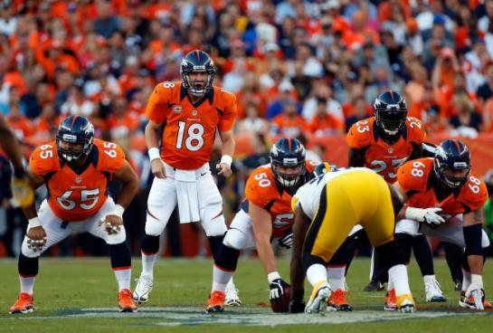 Peyton Manning has had command of the Bronco huddle from the outset.