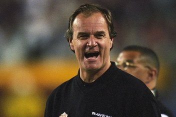 Brian Billick on the sidelines of Super Bowl XXXV.
