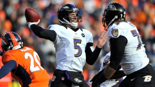 Flacco's coming out party in the AFC Divisional 38-35 defeat of the Denver Broncos.