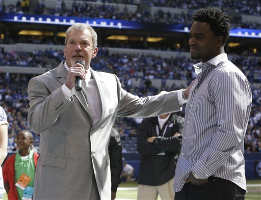 James and Colts Owner Jim Irsay at the Ring of Honor Ceremony.