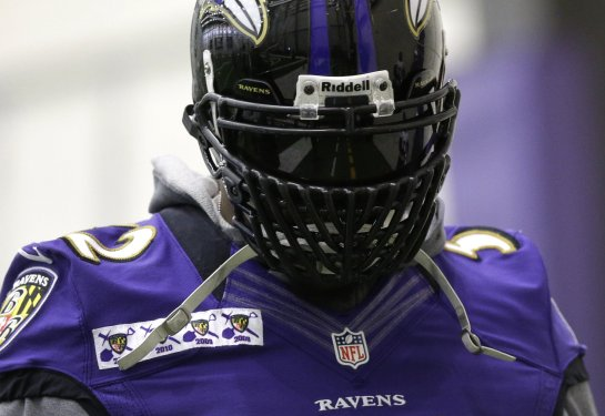 The 2012 Ray Lewis in Lando Calrissian facemask. Are we sure he won't intimidate Colin Kaepernick on gameday??