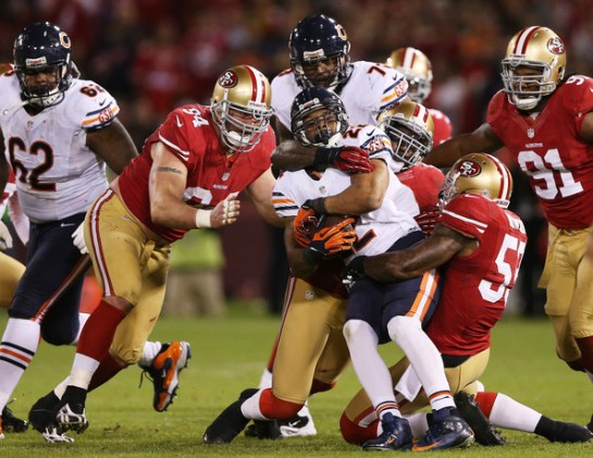 In the thick of the 49er defense you have to appreciate Bowman's play.