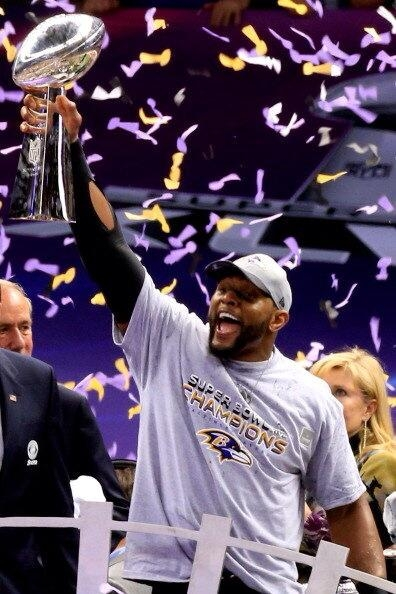 Ray Lewis, from The [[_]] hoists the Lombardi Trophy for the second time in his last NFL game.
