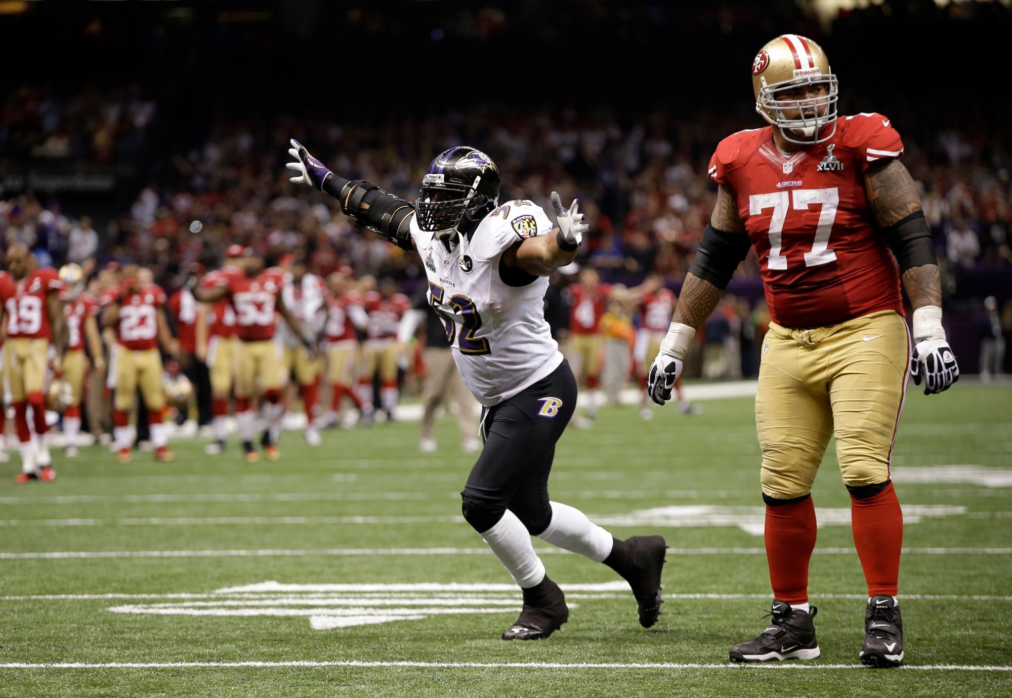 The last play of Ray Lewis career. A 4th down incompletion in Super Bowl XLVII.