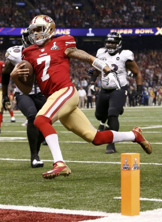 Kaepernick's 4th quarter scramble for a touchdown to bring the 49ers within 2 points of the Ravens in the Super Bowl 31-29.