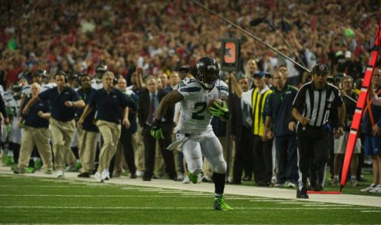 Marshawn Lynch closed in on the goal line during the playoff loss to Atlanta.