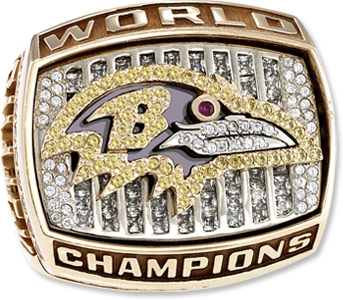 The first ring won by the Baltimore Ravens after Super Bowl XXXV.