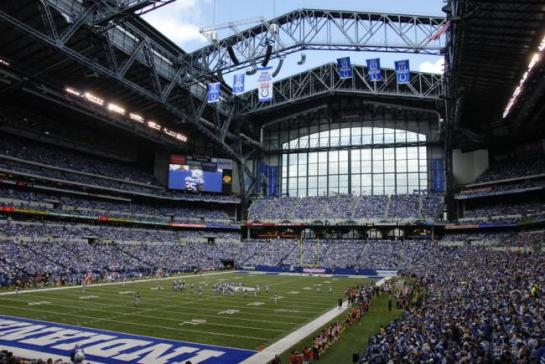 Lucas Oil Stadium with championship banners hanging.