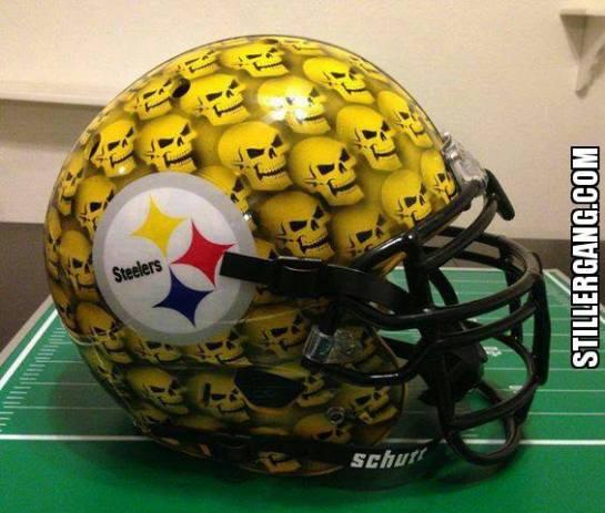 Crazy Steeler fan's alternate helmet.