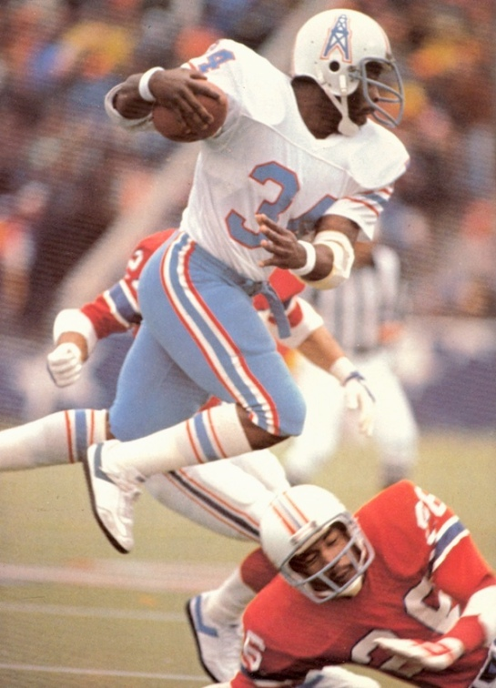 Campbell leapfrogging Patriot cornerback Raymond Clayborn in the '78 playoffs.