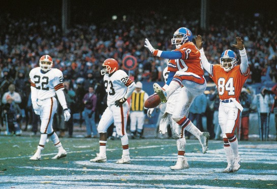 "Mark Jackson celebrates the touchdown at the end of ""The Drive""in the '86 AFC Championship Game."