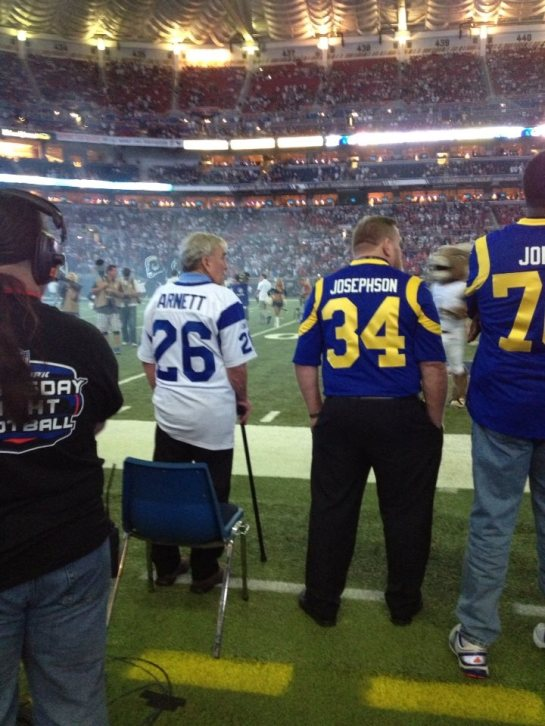 Some of the Ram alumni on the sideline during the Rams v. 49ers in week 4.