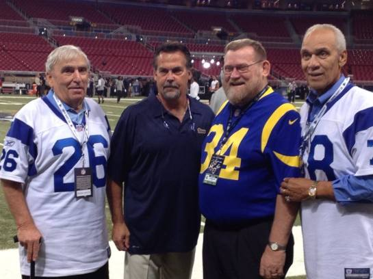 The legendary Jon Arnett along with current Ram coach Jeff Fisher, former players Les Josephson, and Roger Brown.