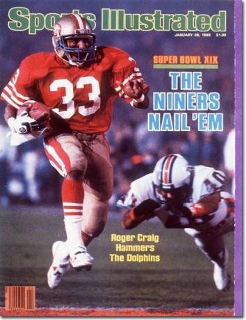 Roger Craig graces the cover of Sports Illustrated  after his record breaking performance in Super Bowl XIX.