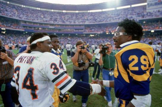 Eric Dickerson and Walter Payton in 1984. Payton eclipsed Jim Brown to become the all time leading rusher  that year. Not to be outdone Dickerson broke OJ Simpson's single season record with 2,105 yards.