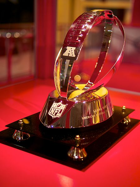 The Lamar Hunt Trophy is awarded to the champion of the American Football Conference.