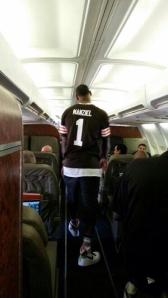 Speaking of free agents Cleveland might attract....LeBron James sporting a Manziel jersey traveling with the Miami Heat.