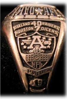 "The block AFL ""A"" along with the 1967 AFL Championship score 40-7 over Houston."
