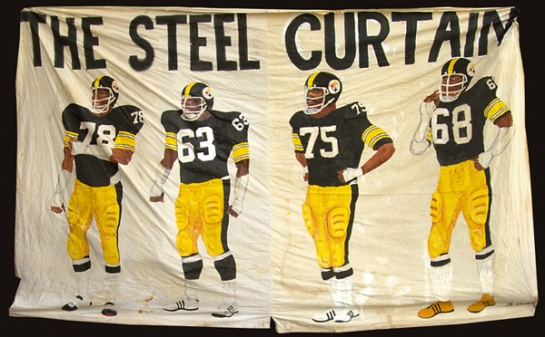 The banner that hung in Three Rivers Stadium honoring the Front Four.