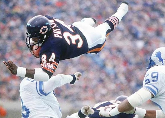 Walter Payton soaring as he is in heaven above.