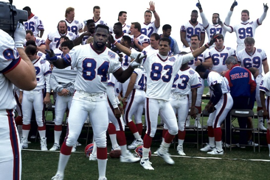 The Buffalo Bills clowning around on Super Bowl picture day before XXV.