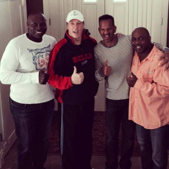 Bruce Smith, Andre Reed, and Thurman Thomas as they visited Jim Kelly at the start of his battle with cancer.
