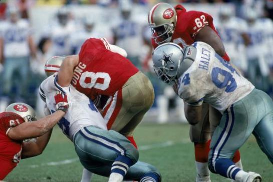 Steve Young being sacked  during the 1992 NFC Championship Game.