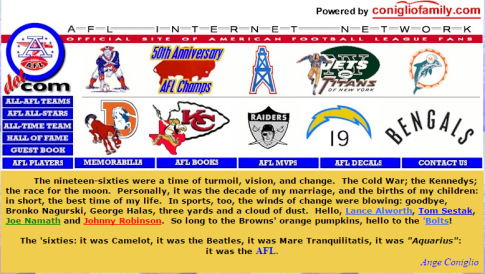 Learn all about the American Football League on historian Ange Coniglio's site.