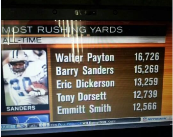 At the time of Sanders retiement, he was in striking distance of Payton to begin '99.
