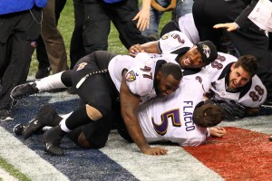 Tyrod Taylor celebrating at the end of Super Bowl XlVII.