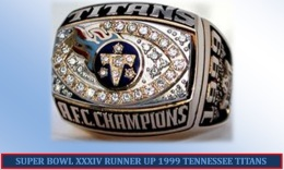 SUPER BOWL XXXIV RUNNER UP 1999 TENNESSEE TITANS