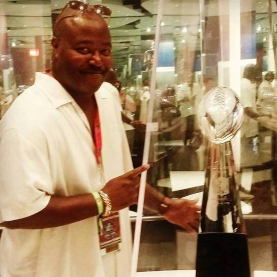 The Chancellor & Super Bowl LI Trophy at the Hall of Fame.