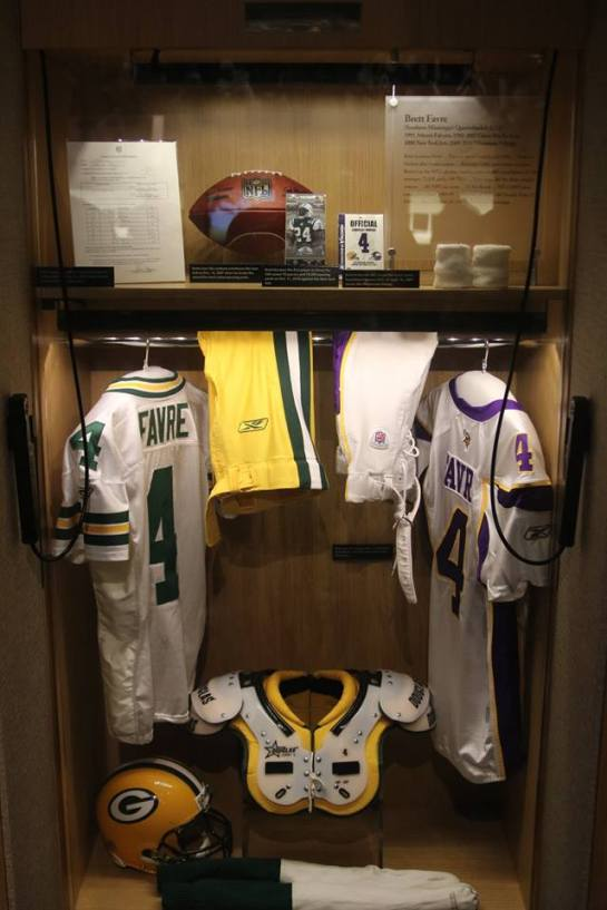 dc4738e37 Favre s locker at The Pro Football Hall of Fame on display the day of his  induction.